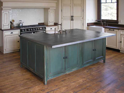 french country zinc countertop