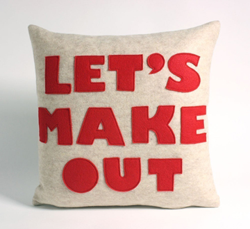 """585835056 Westchester Etsyan Alexandra Ferguson was in the fashion biz in her past  life. Now she's sewing recycled felt together to make these """"statement""""  pillows."""
