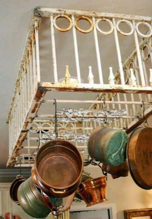 Recycled pot racks for Reclaimed wood pot rack